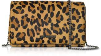 Love Moschino Animal Printed Synthetic Pony Hair Leather Shoulder Bag