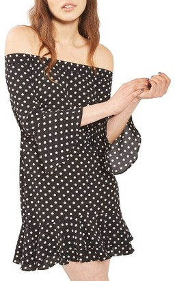 Women's Topshop Bardot Spot Ruffle Dress $68 thestylecure.com