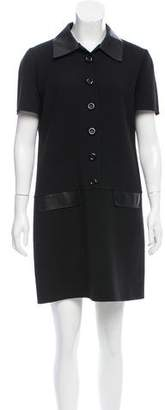 Michael Kors Leather-Trimmed Wool Dress