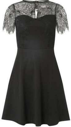 Dorothy Perkins Womens Black Scuba Lace Mini Skater Dress