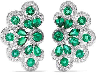 Chopard 18-karat White Gold, Emerald And Diamond Earrings