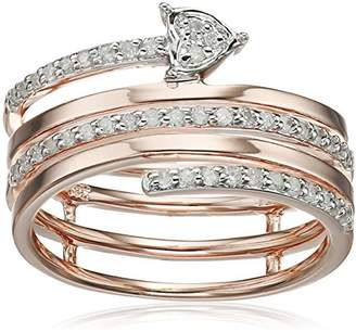 Rose Gold Plated Sterling Silver Spiral Diamond Ring (1/5cttw