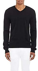 Comme des Garcons Men's Heart Patch V-Neck Sweater - Black