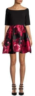 Betsy & Adam Off-Shoulder Floral Combo Dress