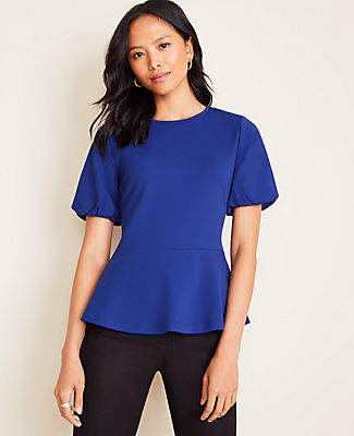 Ann Taylor Bubble Sleeve Peplum Top