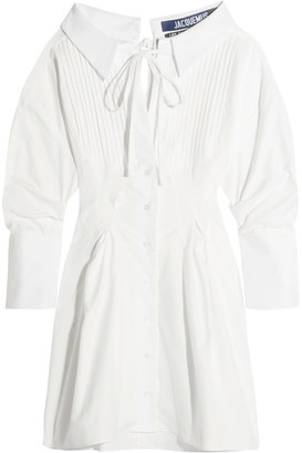 Jacquemus - Pintucked Cotton Mini Dress - White $525 thestylecure.com
