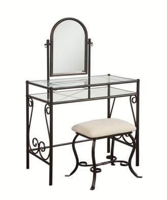 Linon Clarisse Metal Vanity Set Brown