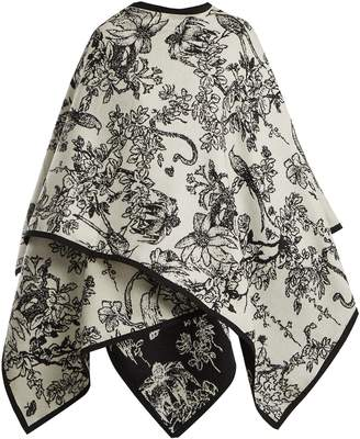Alexander McQueen Bird and floral-intarsia wool wrap