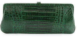Nancy Gonzalez Small Frame Crocodile Clutch Bag, Kelly Green Shiny