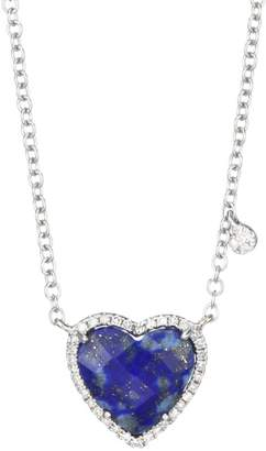 Meira T 14K White Gold, Diamond & Lapis Lazuli Heart Pendant Necklace