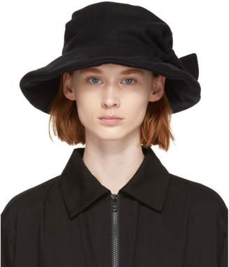 Y's Ys Black Flannel Cloche Hat