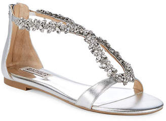 Badgley Mischka Haynes Embellished Metallic Leather Flat Sandal