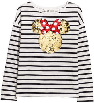 H&M Top with reversible sequins - White