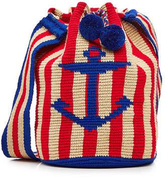 Soraya Hennessy Nautical Mochica Bucket Bag with Pompoms