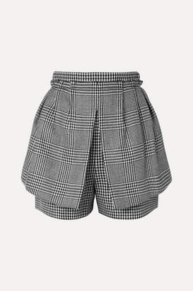 Alexander McQueen Layered Prince Of Wales And Houndstooth Checked Wool Shorts - Black