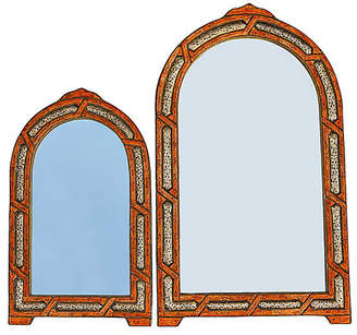 One Kings Lane Vintage Orange & Brass Moroccan Mirrors - Set of 2 - The Moroccan Room