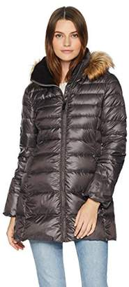 Lark & Ro Women's 3/4 Length Channel-Quilted Down Coat