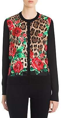 Dolce & Gabbana Women's Rose & Leopard Print Silk Cardigan