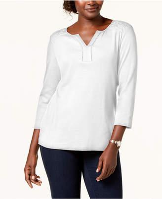 Karen Scott Petite Cotton Lace-Trim Top