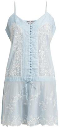 Juliet Dunn Embroidered Cotton Slip Dress - Womens - Light Blue