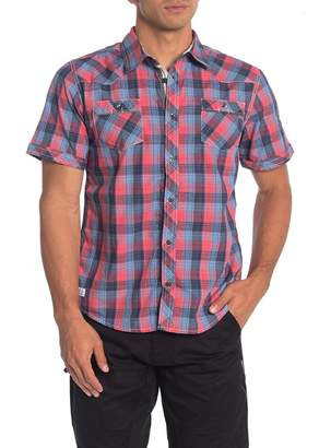 ProjekRaw Projek Raw Short Sleeve Western Plaid Regular Fit Shirt