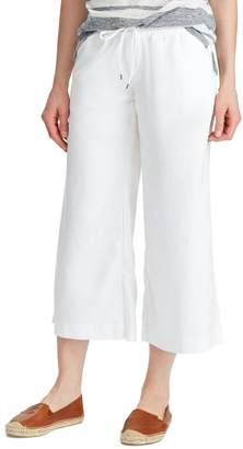 Chaps Straight-Fit Cropped Linen-Blend Pants