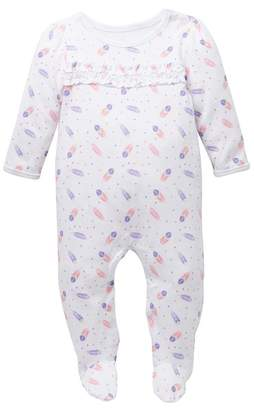Sterling Baby Feather Ruffle Front Footie (Baby Girls)