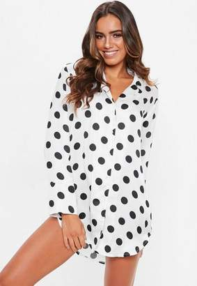 Missguided White Polka Dot Satin Nightshirt