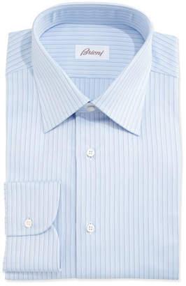 Brioni Herringbone-Pinstripe Woven Dress Shirt, Light Blue