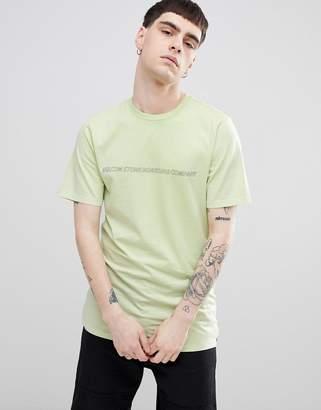 Volcom spyral t-shirt with skateboarding logo in green
