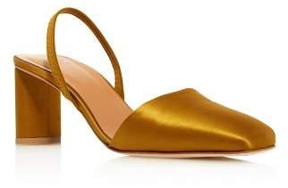 LoQ Women's Felipa Square Toe Slingback Mid Heel Satin Pumps