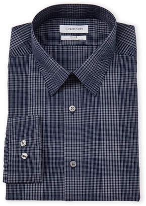 Calvin Klein Blue Velvet Plaid Stretch Slim Fit Dress Shirt