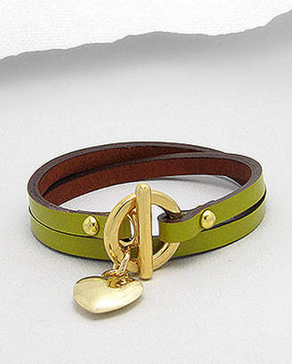 Lovethelinks Leather Wrap Bracelet With Gold Heart Pendant