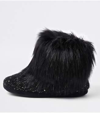 e5389be9cea4 River Island Knitted Slipper Boot - Black