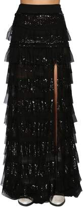Filles a papa Sequined Ruffled Mesh Maxi Skirt