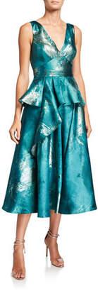 Marchesa Metallic Jacquard V-Neck Sleeveless Midi Dress w/ Ruffle Detail
