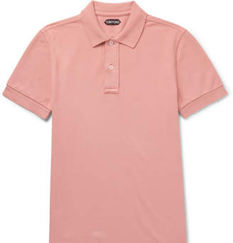 Tom Ford Garment-Dyed Cotton-Pique Polo Shirt - Men - Pink