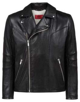 HUGO Boss Biker jacket in buffalo leather soft inner lining M Black