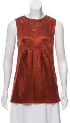 Dolce & Gabbana Lace-Accented Silk Top w/ Tags