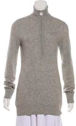 Tory Burch Merino Wool & Cashmere-Blend Half-Zip Sweater