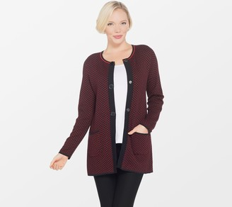 Susan Graver Rayon Nylon Jacquard Cardigan with Snap Closure