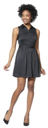 Mossimo Women's Button Front Satin Dress w/Belt - Assorted Colors