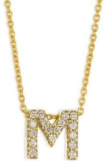 Roberto Coin Tiny Treasures Diamond& 18K Yellow Gold Letter M Necklace