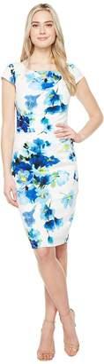Adrianna Papell Printed Poppy Petal Stretch Crepe Drape Neck Sheath Dress Women's Dress