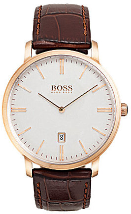 Hugo Boss BOSS Hugo Boss Tradition Analog & Date Crocodile-Embossed Leather-Strap Watch