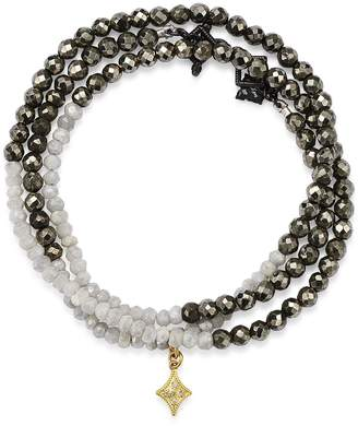 Armenta 18K Yellow Gold & Blackened Sterling Silver Old World Pyrite, Moonstone & Pave Diamond Beaded Wrap Bracelet