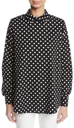 Paskal Polka-Dot Collared Long-Sleeve Cotton Shirt