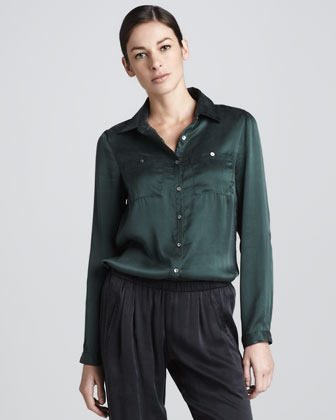Three Dots Silk Button-Front Shirt