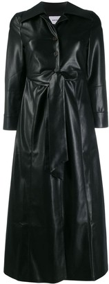 Nanushka faux-leather belted trenchcoat