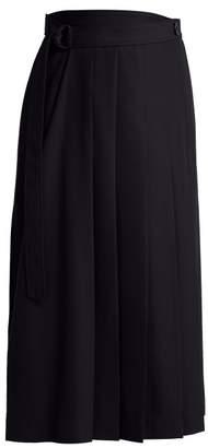 Joseph Fleet Asymmetric Crepe Skirt - Womens - Navy
